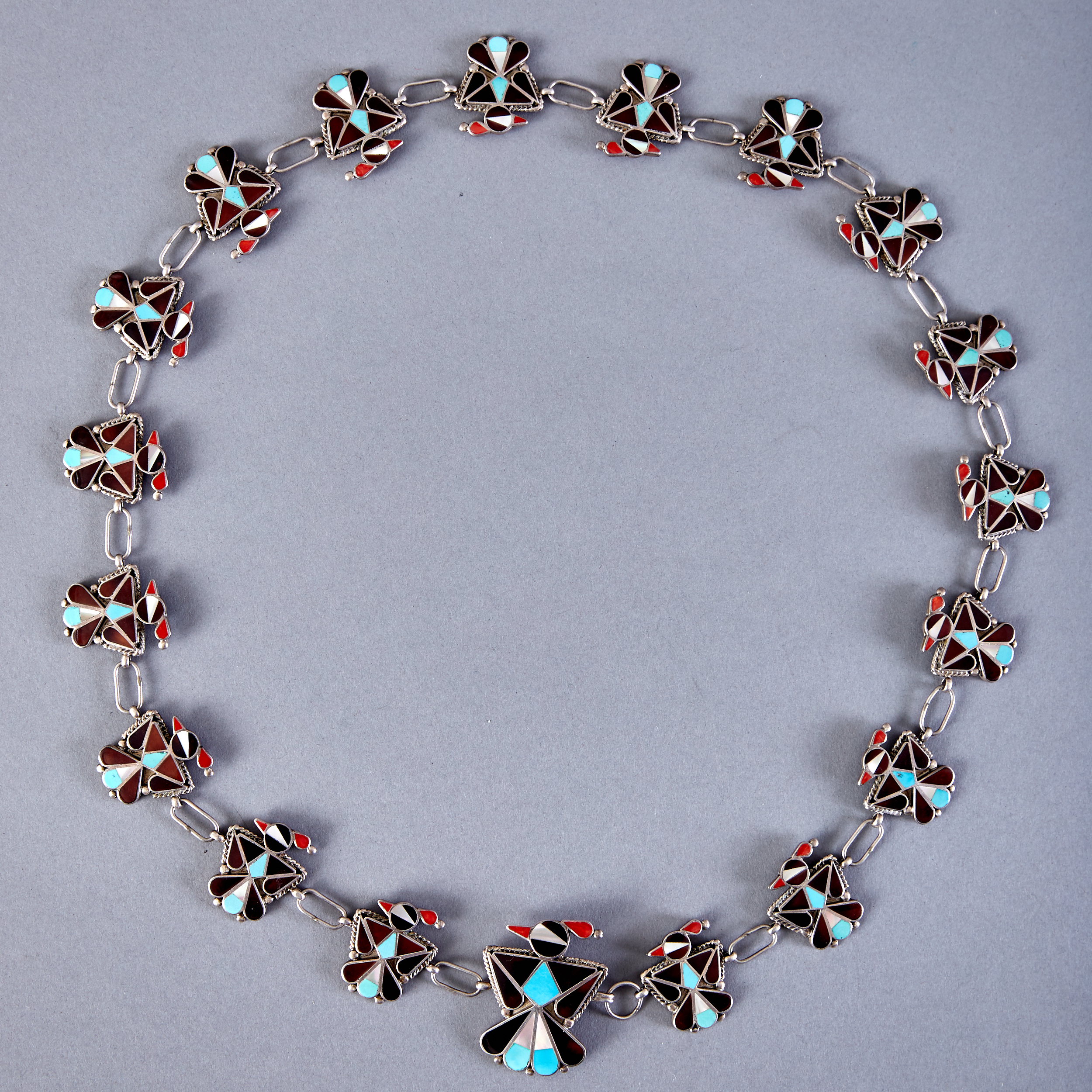 Lot 287 - Zuni Edaakie Multi-stone Hopi Bird Concho Belt