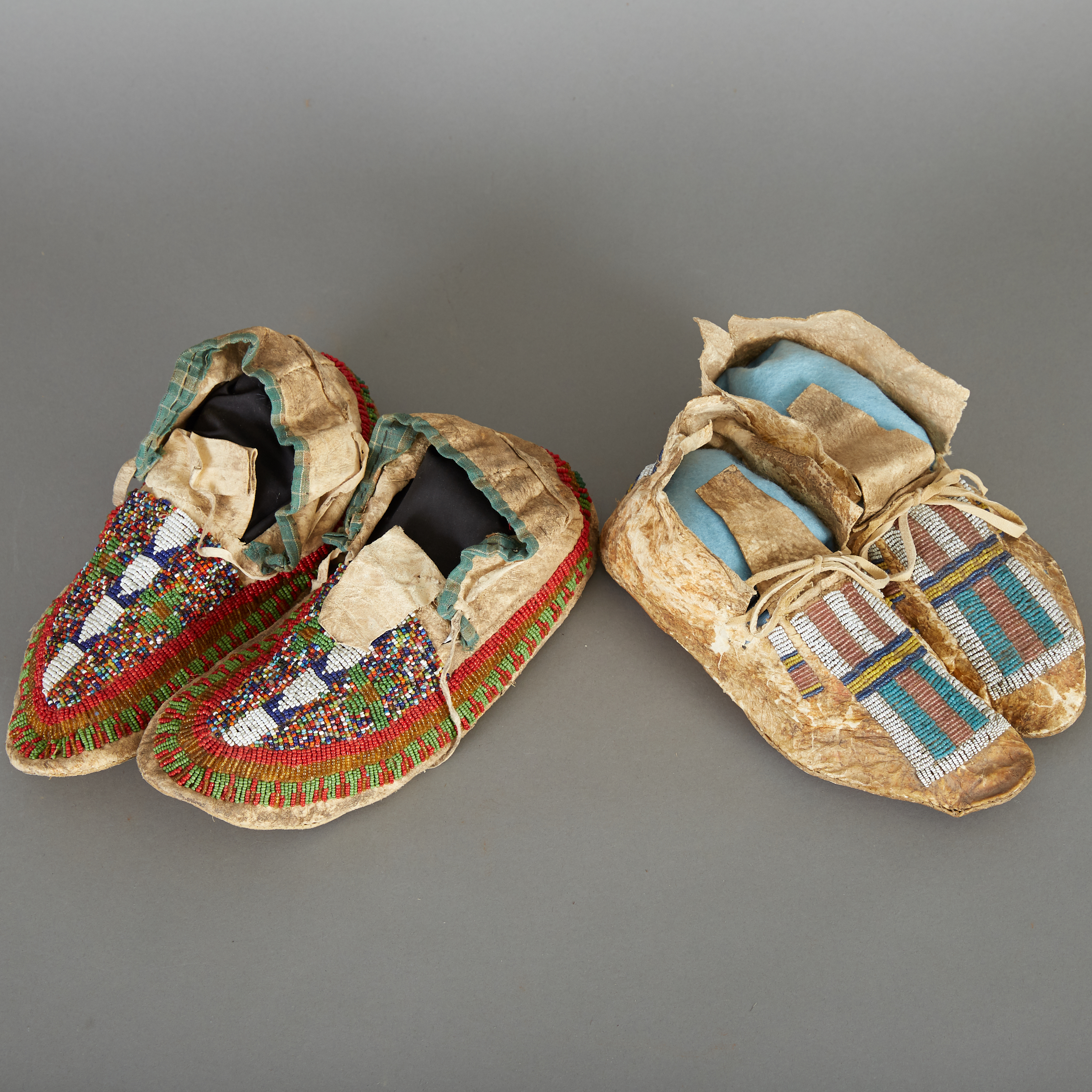 Lot 243 - 2 Pairs Arapaho Beaded Moccasins Late 19th c.