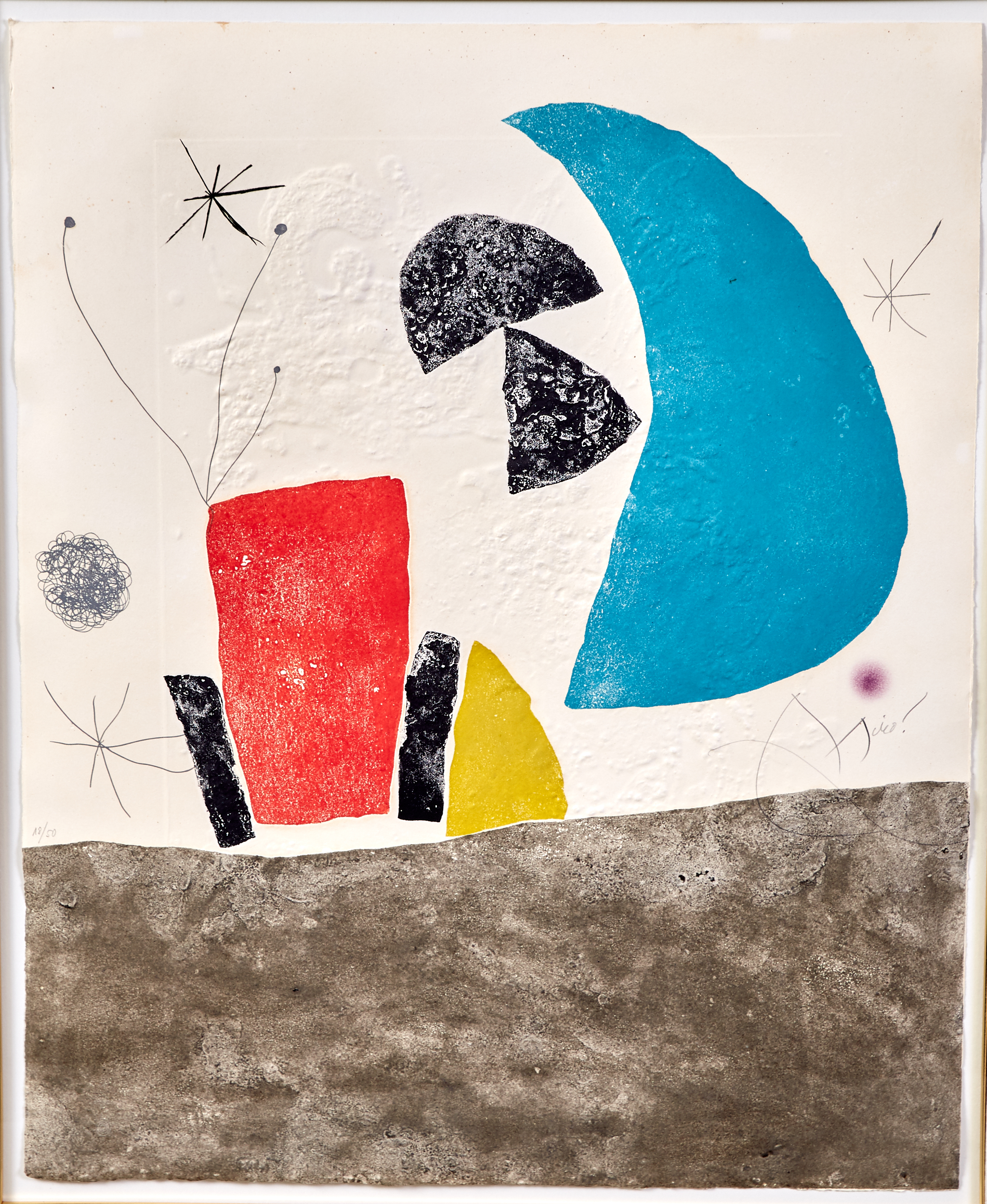 Lot 58 - Joan Miro Espriu Aquatint Etching on Paper D.876