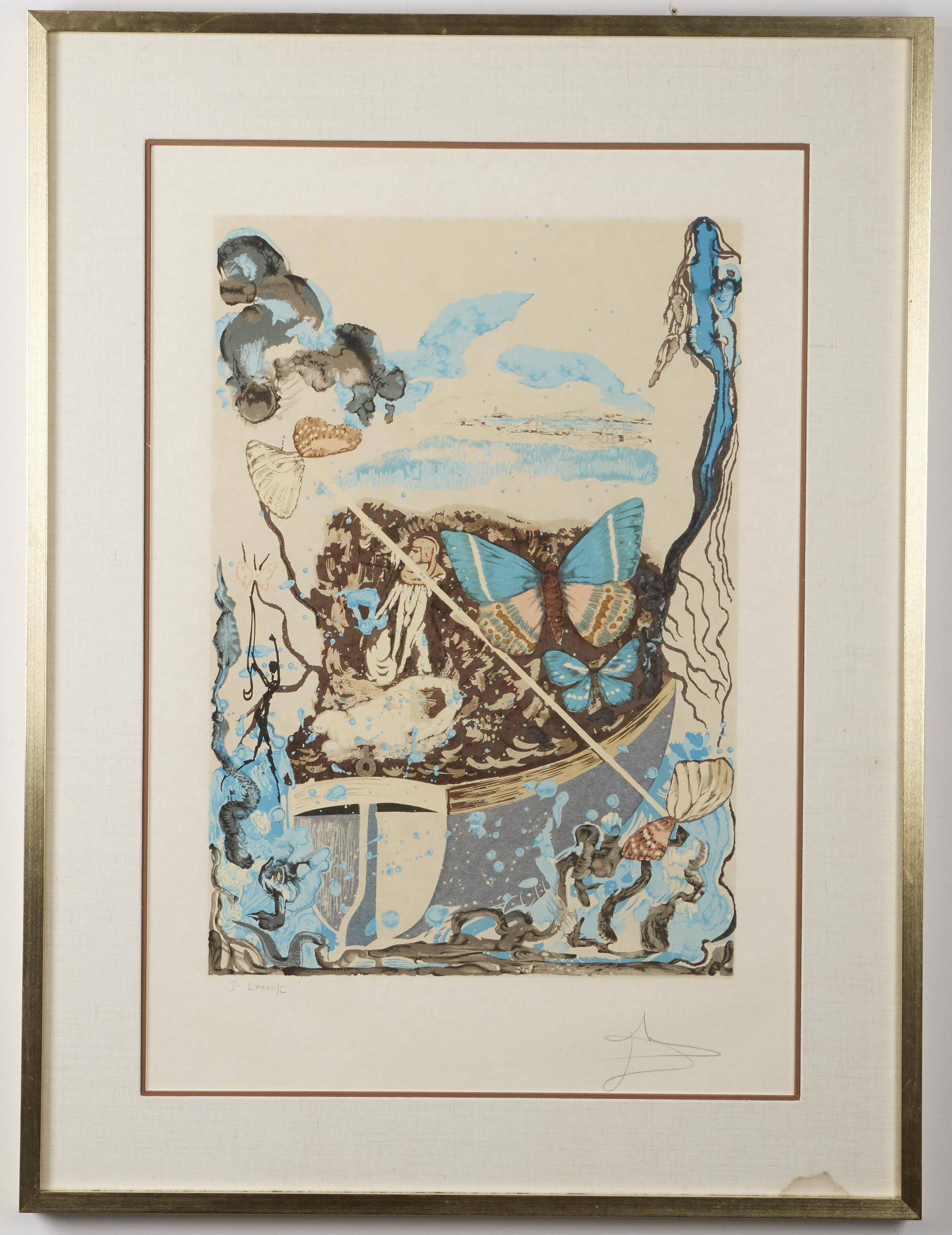 "Los 50 - Salvador Dali (1904-1989). Four color lithographs with original reworking titled ""Papillons..."
