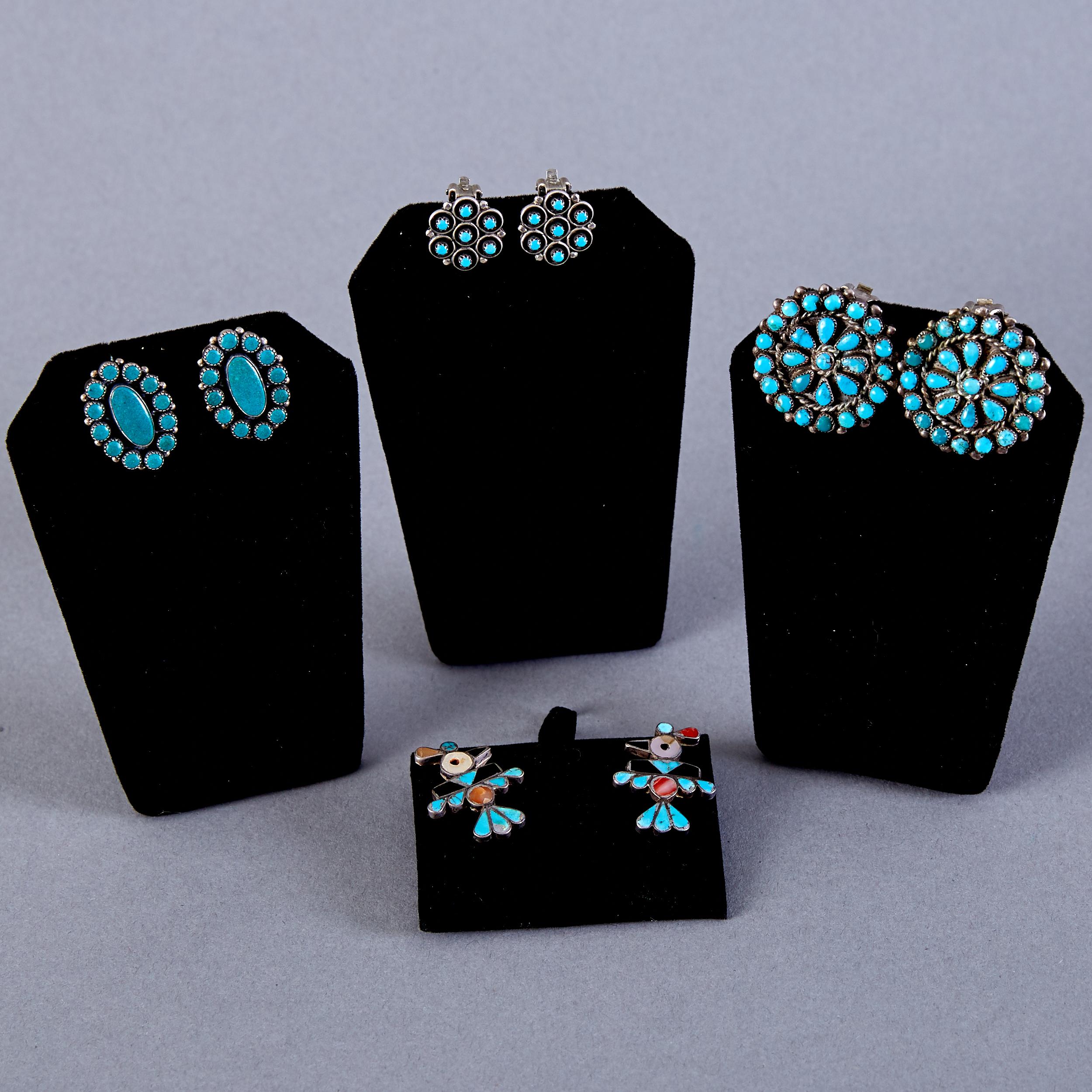 Lot 363 - 4 Pair Native American Earrings Zuni Frank Vacit