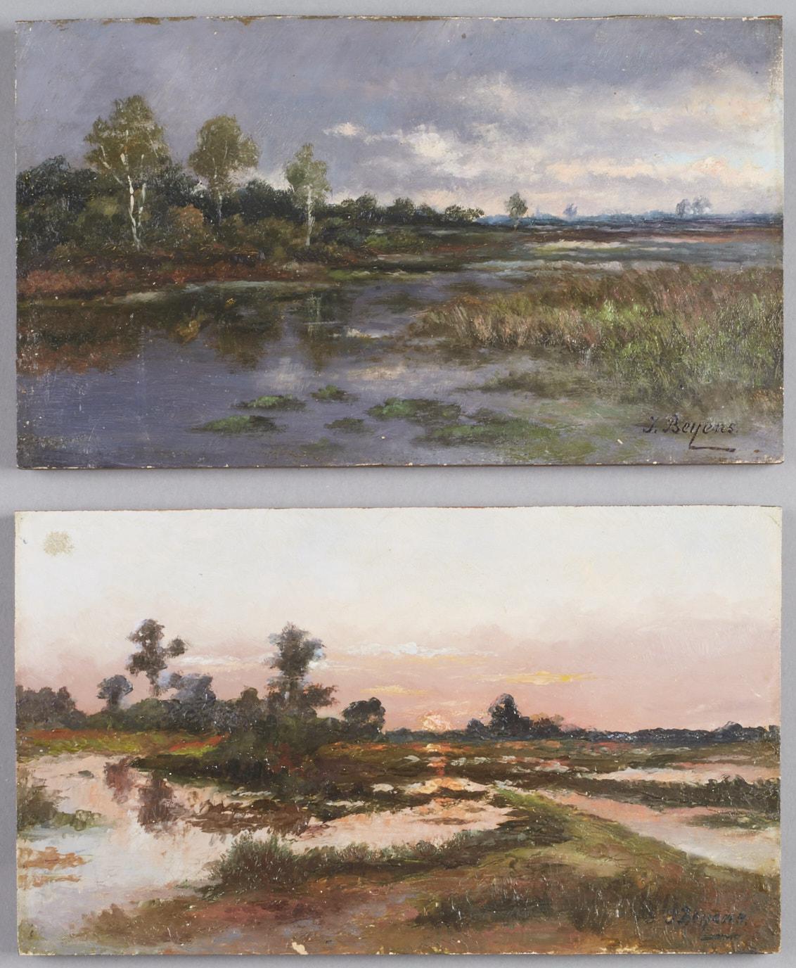 Lot 18 - Pair of Continental School Landscape Paintings Beyens
