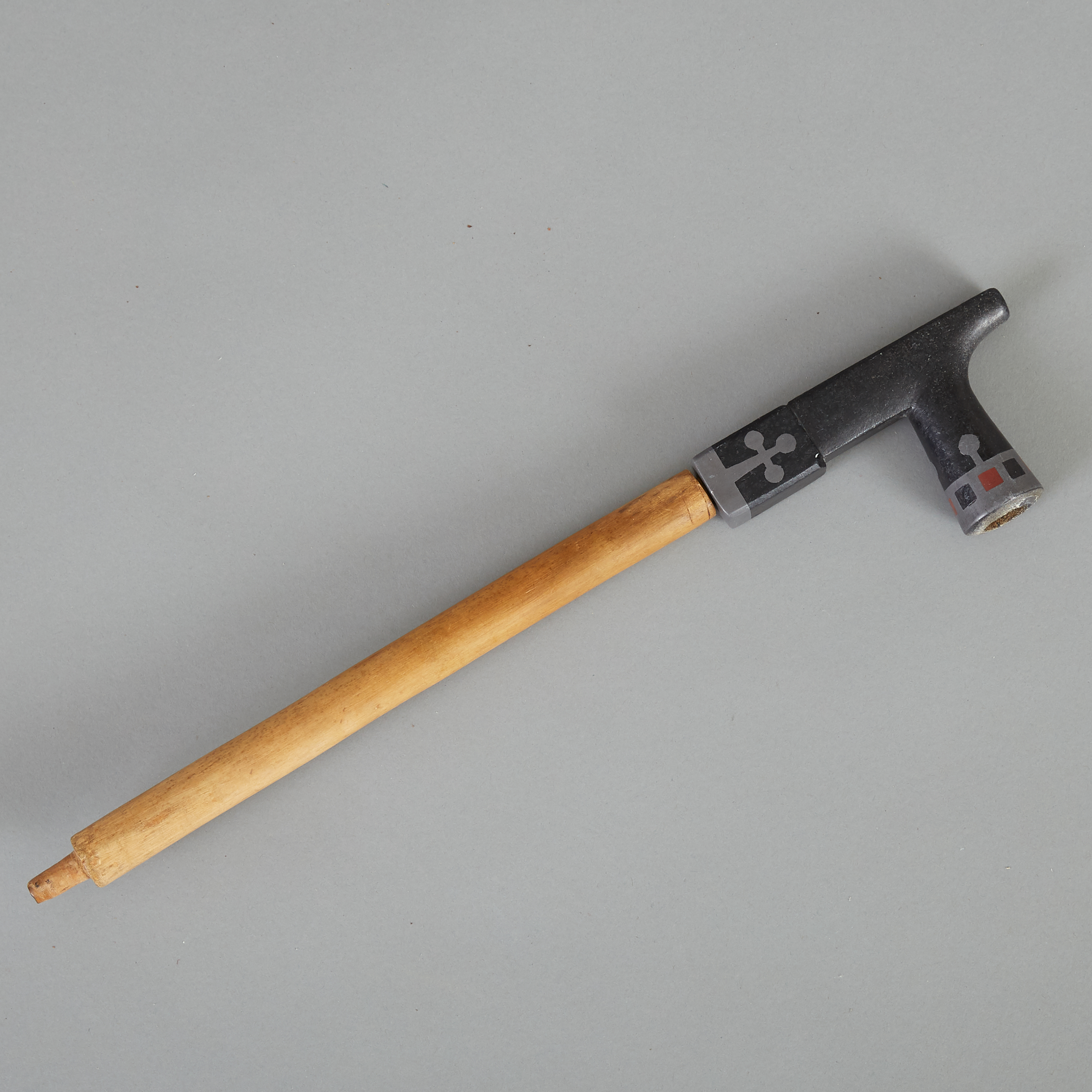 Lot 286 - Ojibwe Inlaid Steatite Pipe with Wooden Stem c. 1900