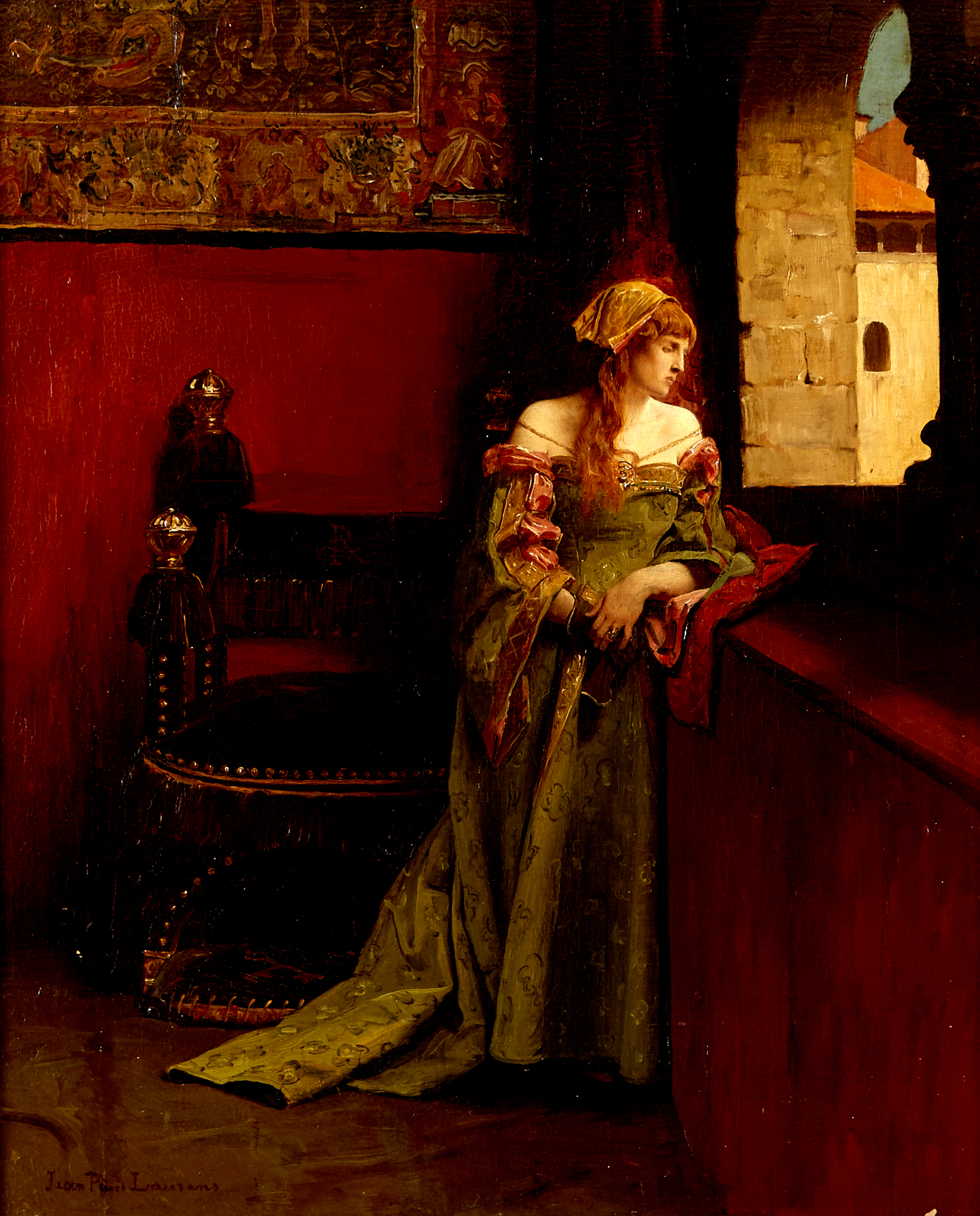 Lot 14 - Jean Paul Laurens Lucretia Borgia Oil Painting