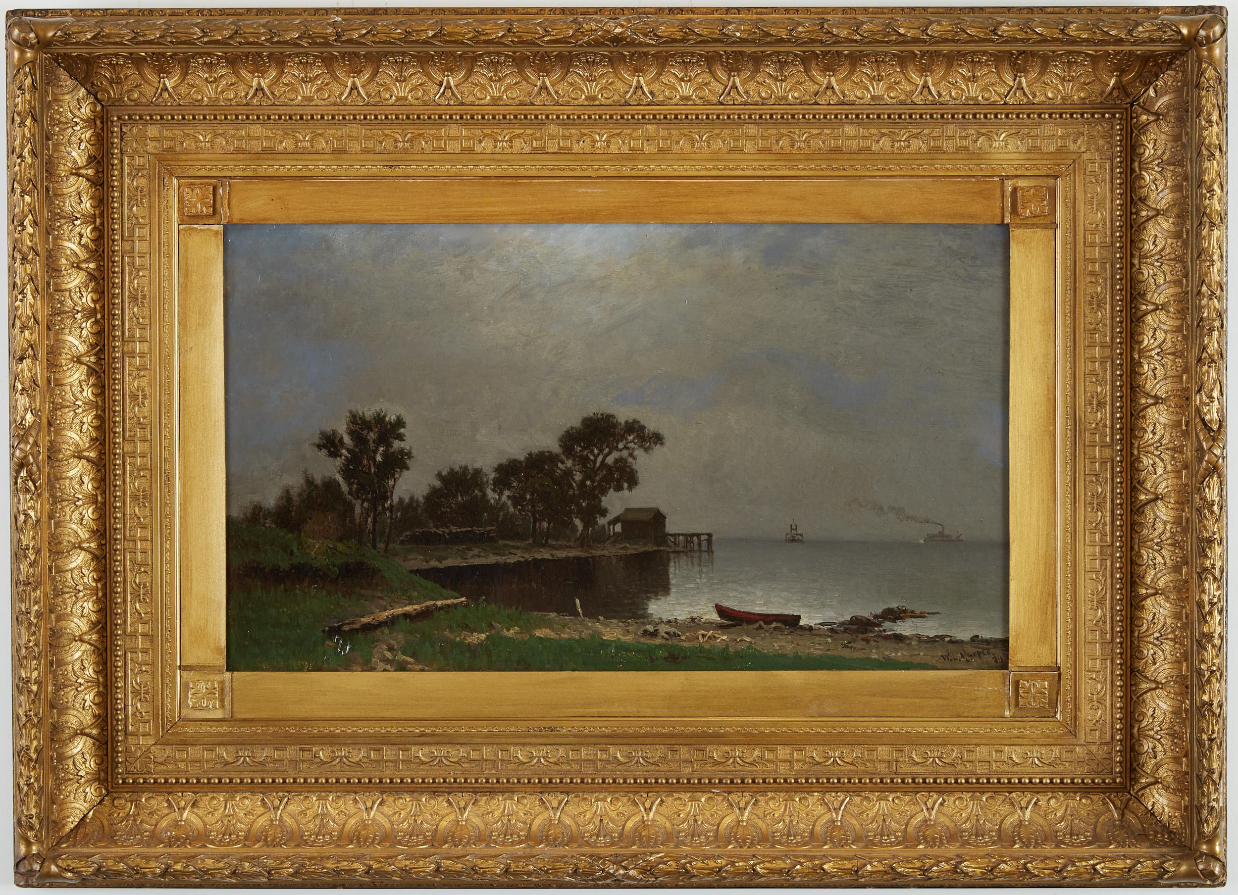 Lot 19 - William Marple 19th c. Lake Pepin Minnesota Oil Painting