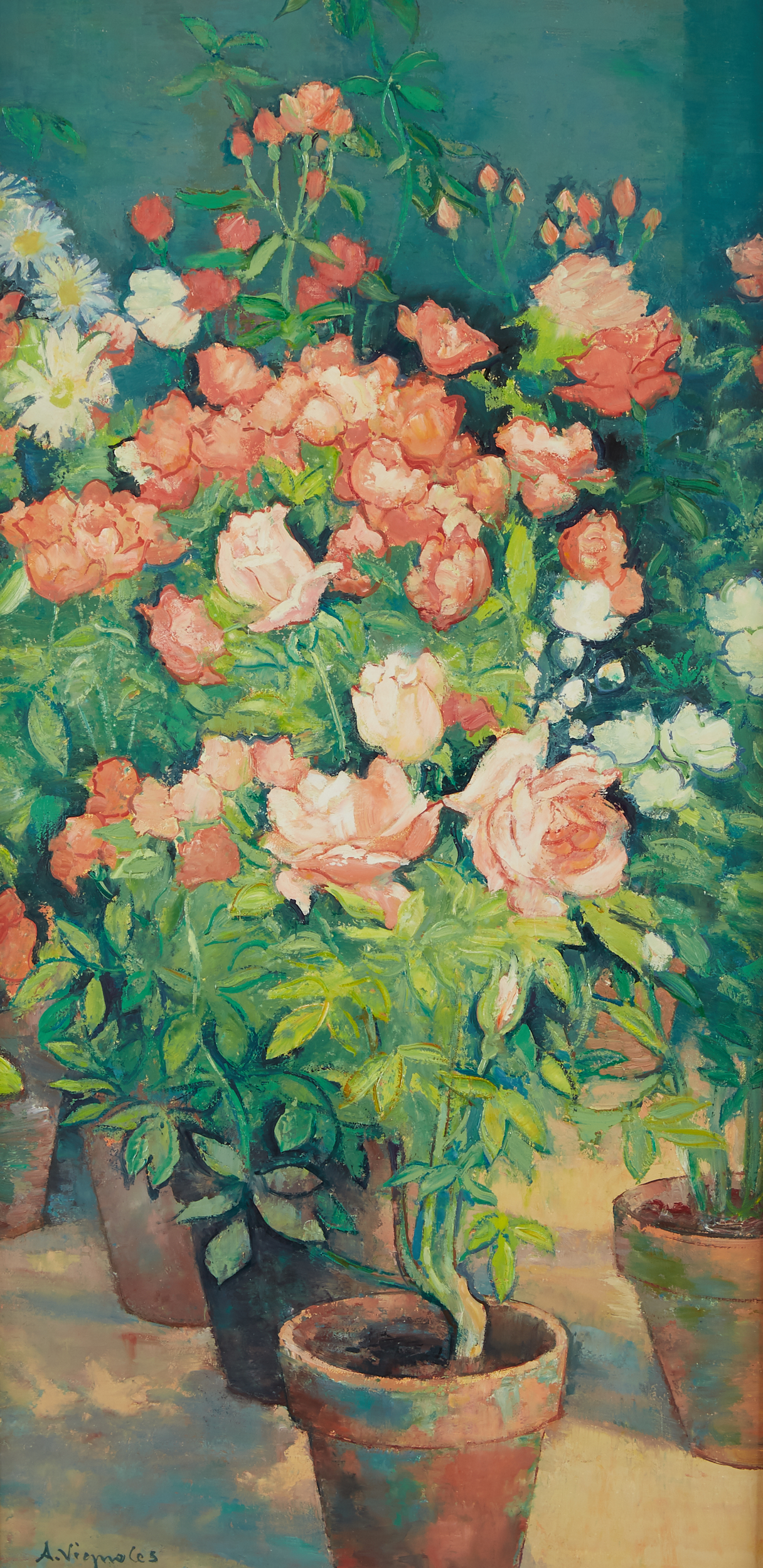 Lot 27 - Andre Vignoles Roses Oil on Canvas