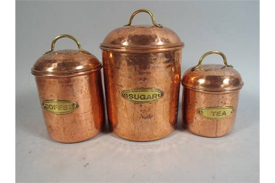 Three Copper Storage Jars for Coffee Sugar and Tea