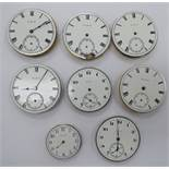 Eight late 19th/early 20thC pocket watch movements,