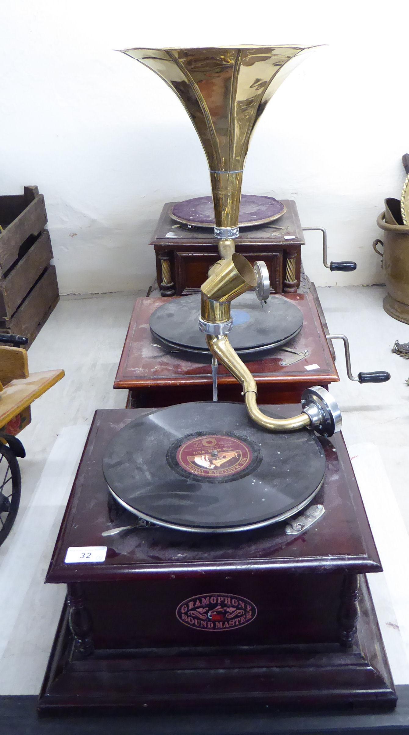Three similar HMV and Soundmaster gramophones,