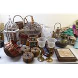 Interior design items: to include wicker baskets and painted wooden and wire bound birdcages