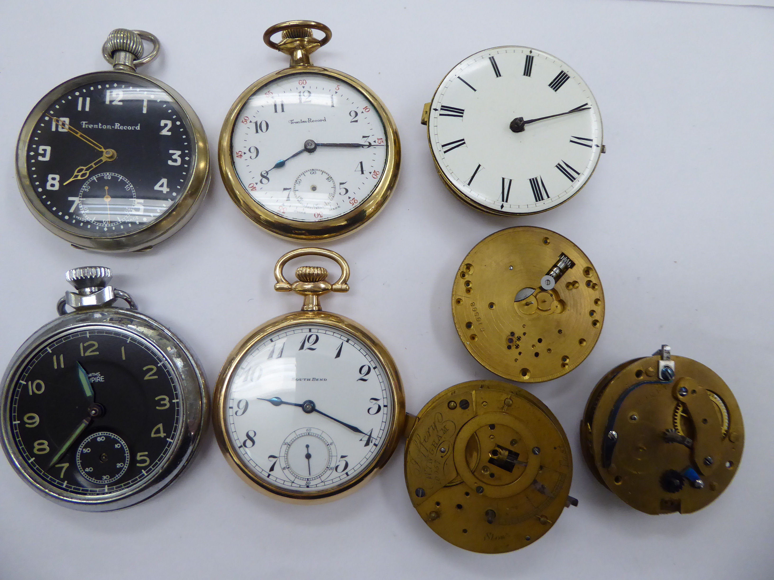 Eight late 19thC/early 20thC pocket watches and movements with varying enamel dials OS10