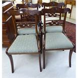 A set of four William IV mahogany framed bar back dining chair, the later,