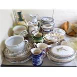 Victorian and later ceramics: to include a Crown Devon china tazza 4.5''h; and Johnson Bros.