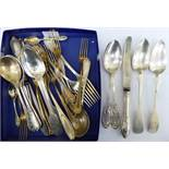 Late 19th/early 20thC Continental silver coloured metal cutlery and flatware of varying designs