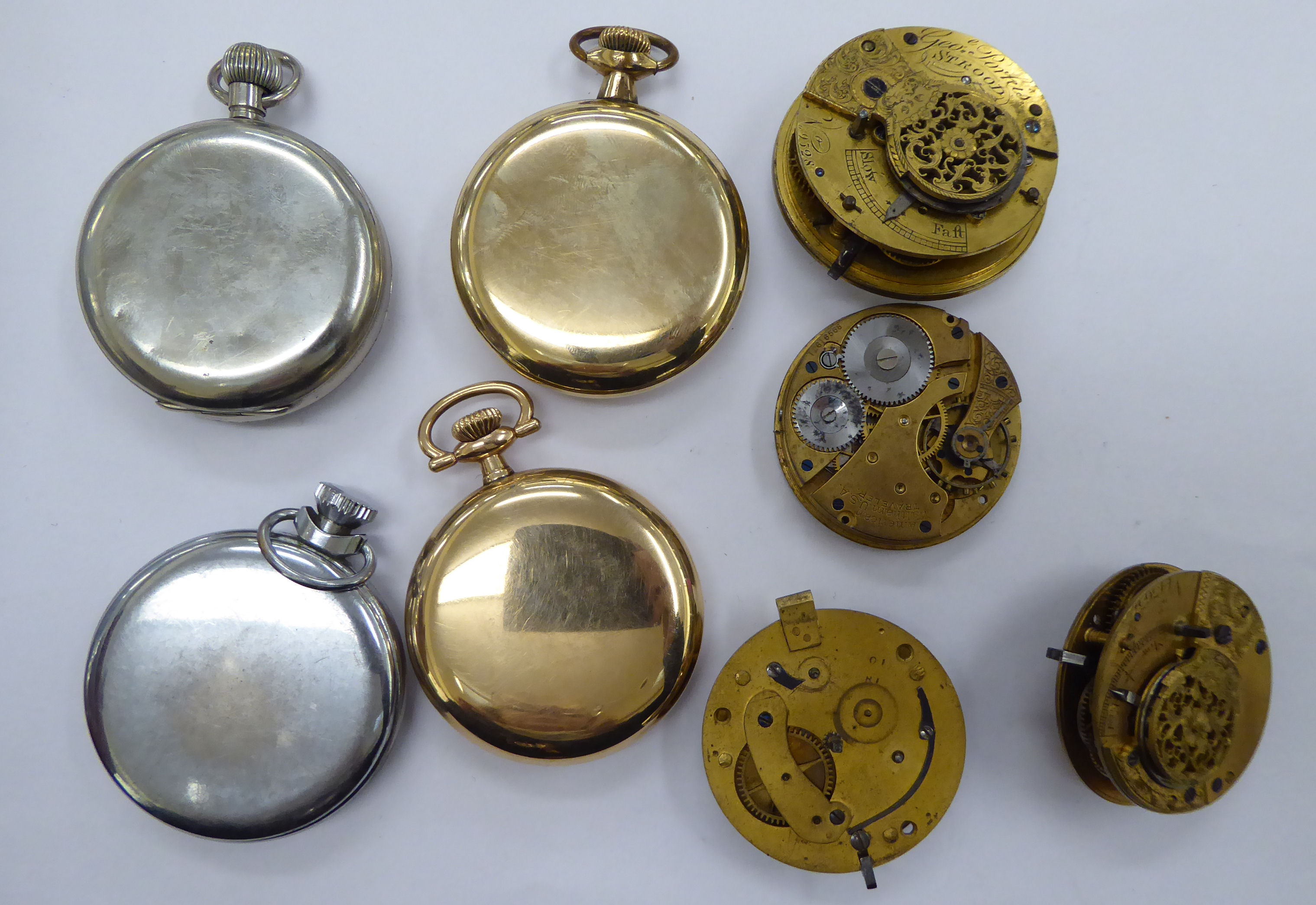 Eight late 19thC/early 20thC pocket watches and movements with varying enamel dials OS10 - Image 2 of 2