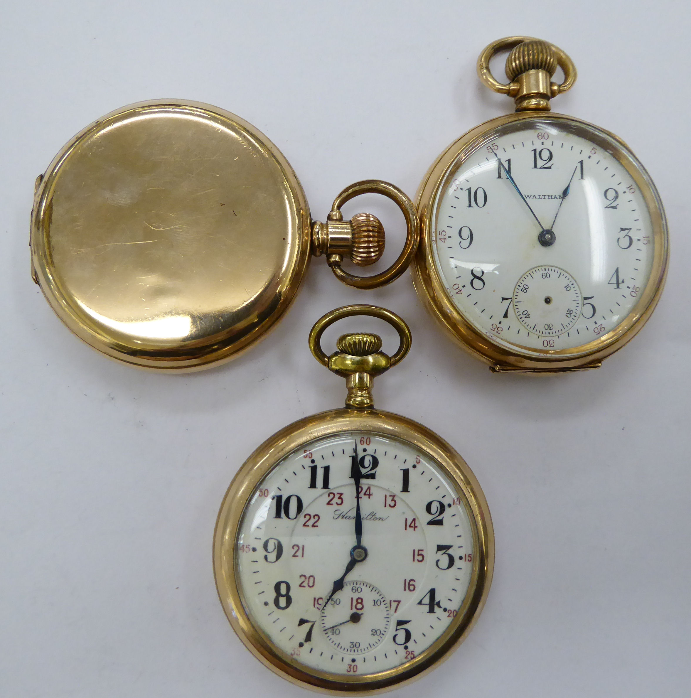 Three late 19th/early 20thC gold plated pocket watches with enamel Roman and Arabic dials - Image 2 of 3