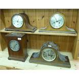 Four early 20thC mantle clocks: to include a mahogany cased example,