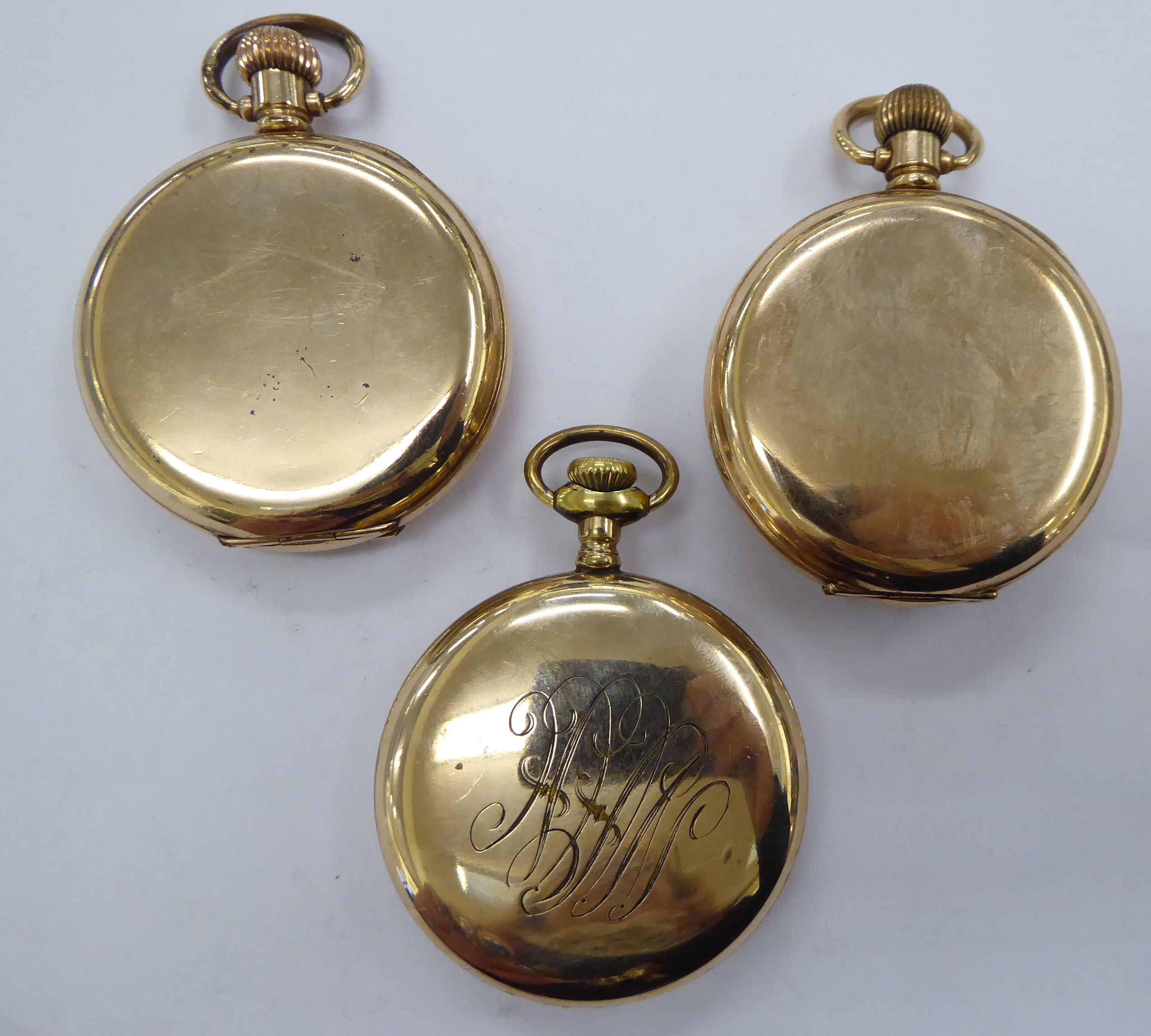 Three late 19th/early 20thC gold plated pocket watches with enamel Roman and Arabic dials - Image 3 of 3