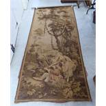 A 20thC Flemish inspired tapestry wall hanging with figures in a garden 46'' x 112'' BSR