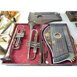Musical instruments: to include two bone inlaid rosewood cased zithers;