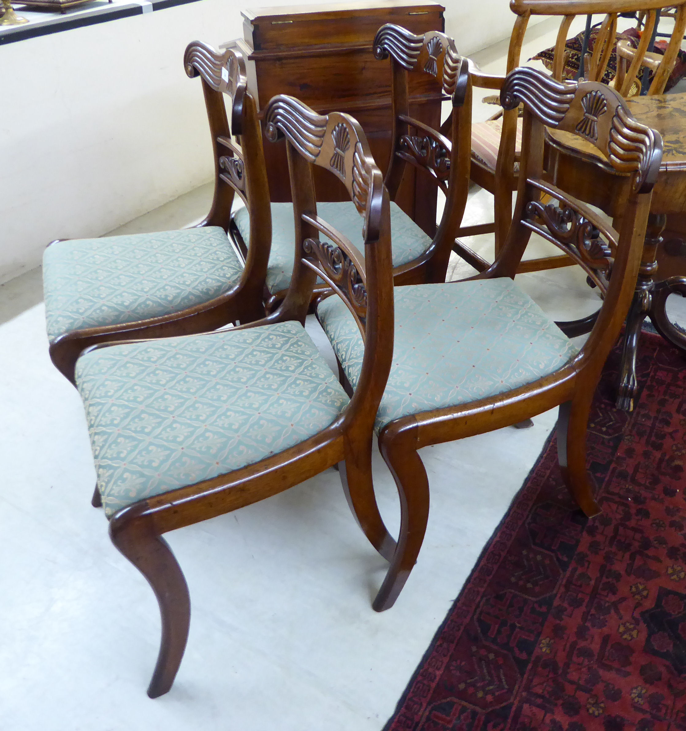 A set of four William IV mahogany framed bar back dining chair, the later, - Image 2 of 2