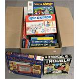 A collection of vintage toys, games and jigsaw puzzles.