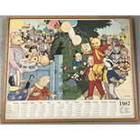 A framed and glazed 1987 Rupert Anniversary poster with calendar.