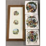 4 Winnie-the-Pooh collectable items; 3 plates and a picture.