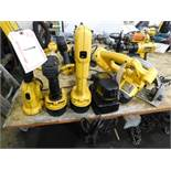 DEWALT CORDLESS TOOLS, INCL. CIRCULAR SAW, DRIVER, RIGHT ANGLE DRILL, LIGHT & BATTERY/CHARGER