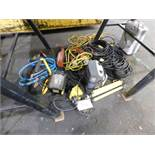 LOT OF WORK & TROUBLE LIGHTS, ELECTRICAL CORDS (ON FLOOR)