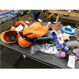 LOT OF SAFETY EQUIPMENT , HARD HATS, AIR FILTERS, MASKS, ETC.