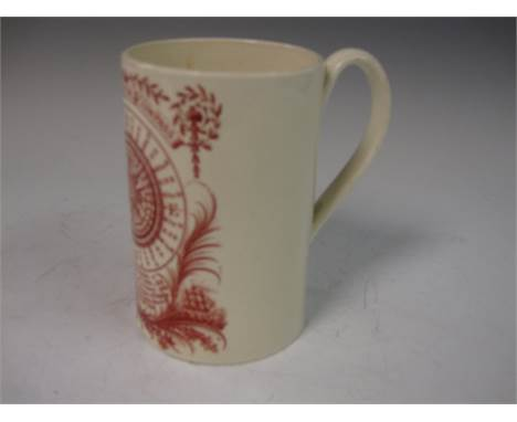 """A creamware cylindrical Mug, printed """"Come Box the Compass"""", the world in planisphere, sailor """"Heaving the Lead"""", 4 3/4in H"""