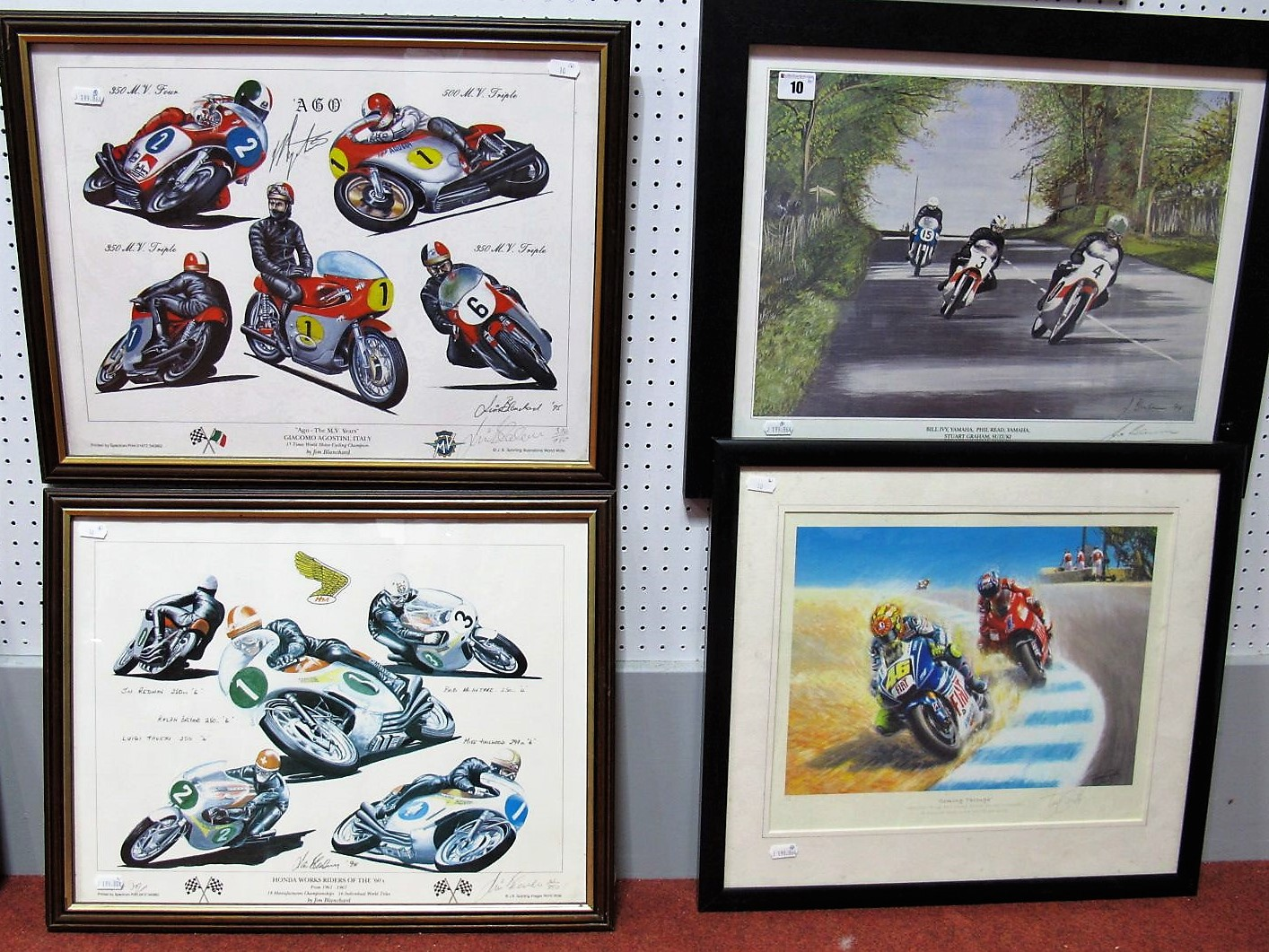 Lot 10 - Four Motorcycle Prints- '1967 Ulster GP' After Jim Blachard/ Honda Works Riders of the 60's, after