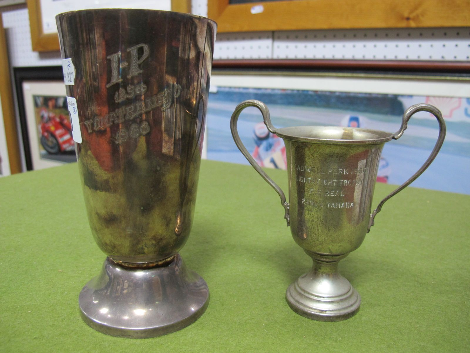 Lot 30 - Two Phil Read Trophies, one Finnish Grand Prix 125CC winner and small Cadwell park lightweight