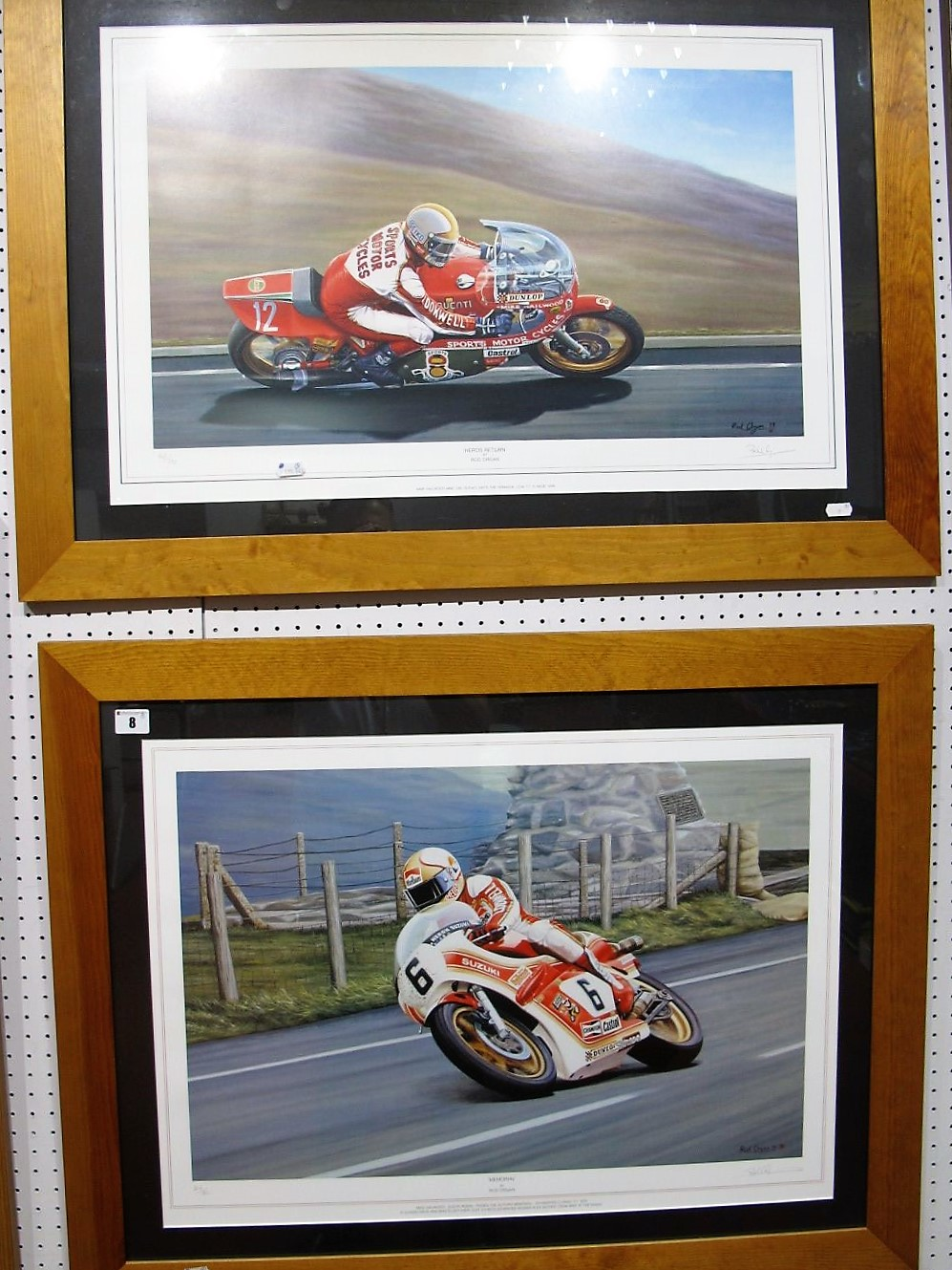 Lot 8 - After Rob Organ- 'Heroes Return' 'Memorial', Mike Hailwood interest, graphite signed by artisit,