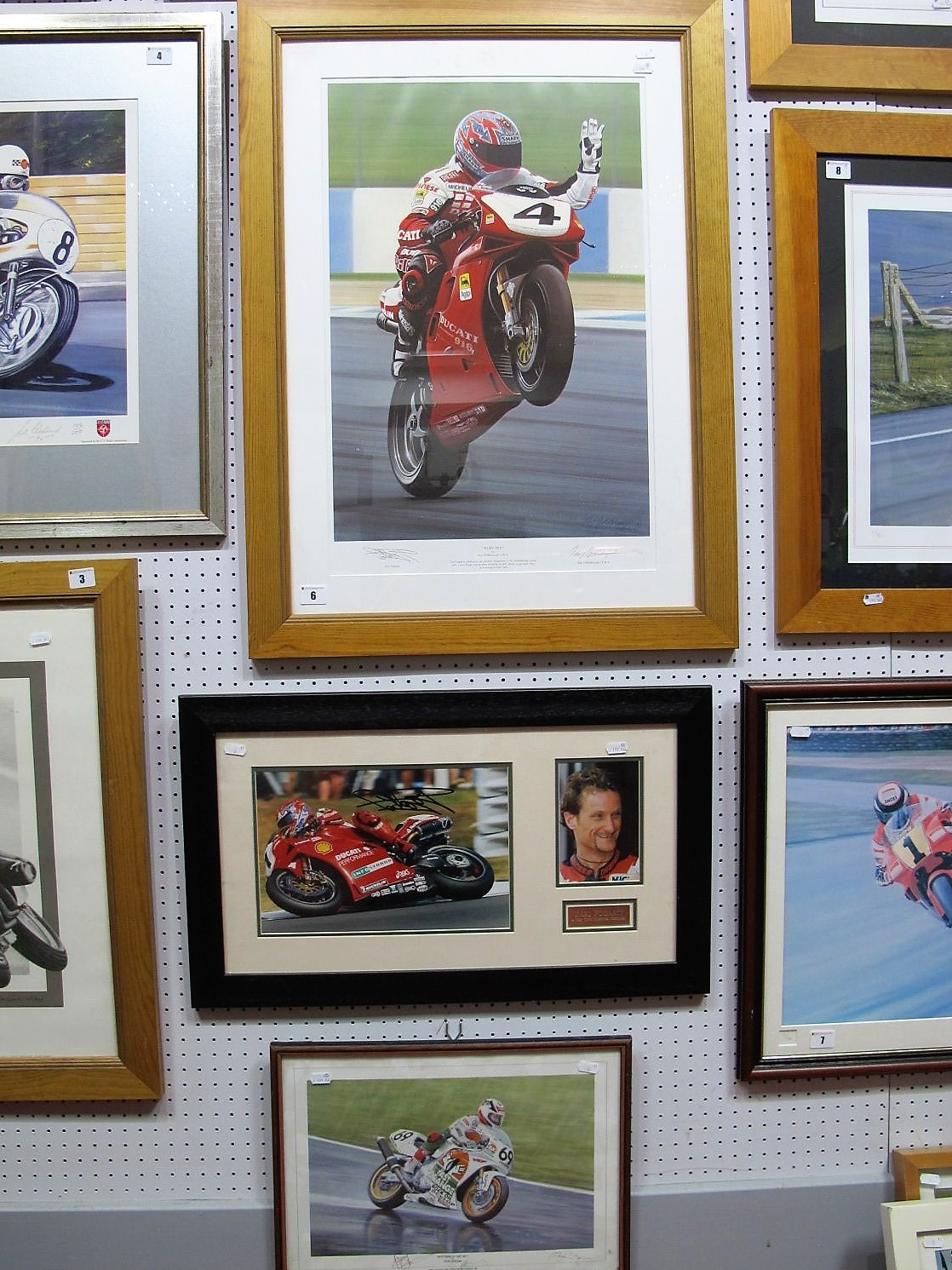 Lot 6 - Three Signed Motorbike Racing Pictures, Carl Fogarty x 2, James Whitham, all framed.