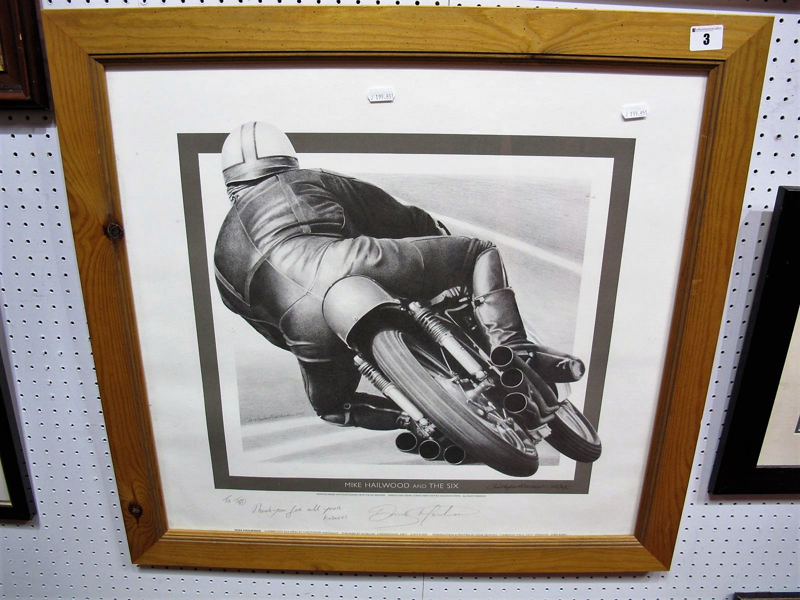 After Christopher Marshall- 'Mike Hailwood and the six, graphite signed by artist and Dave