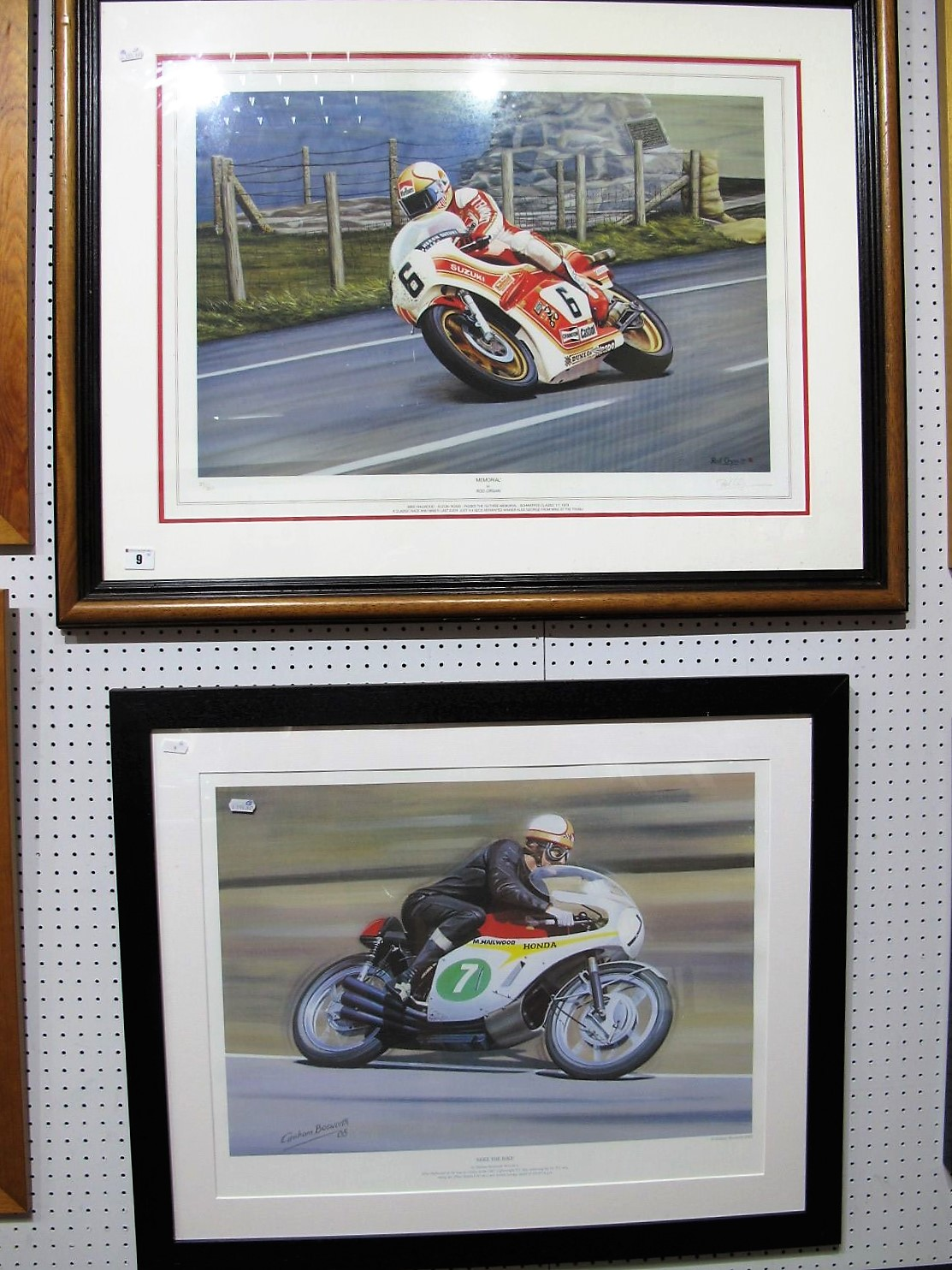 Lot 9 - After Graham Bosworth- 'Mike the Bike', Framed, plus after Rod Organ-'Memorial', graphite signed,