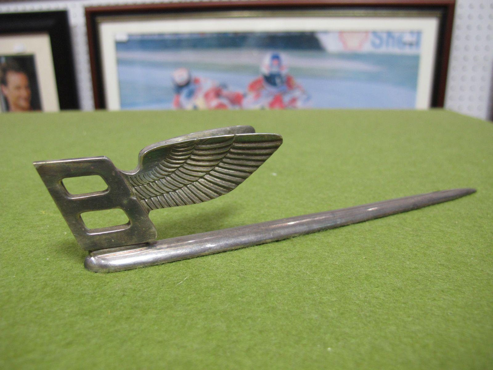 Lot 17 - A Modern White Metal Bentley Flying B Letter Opener.