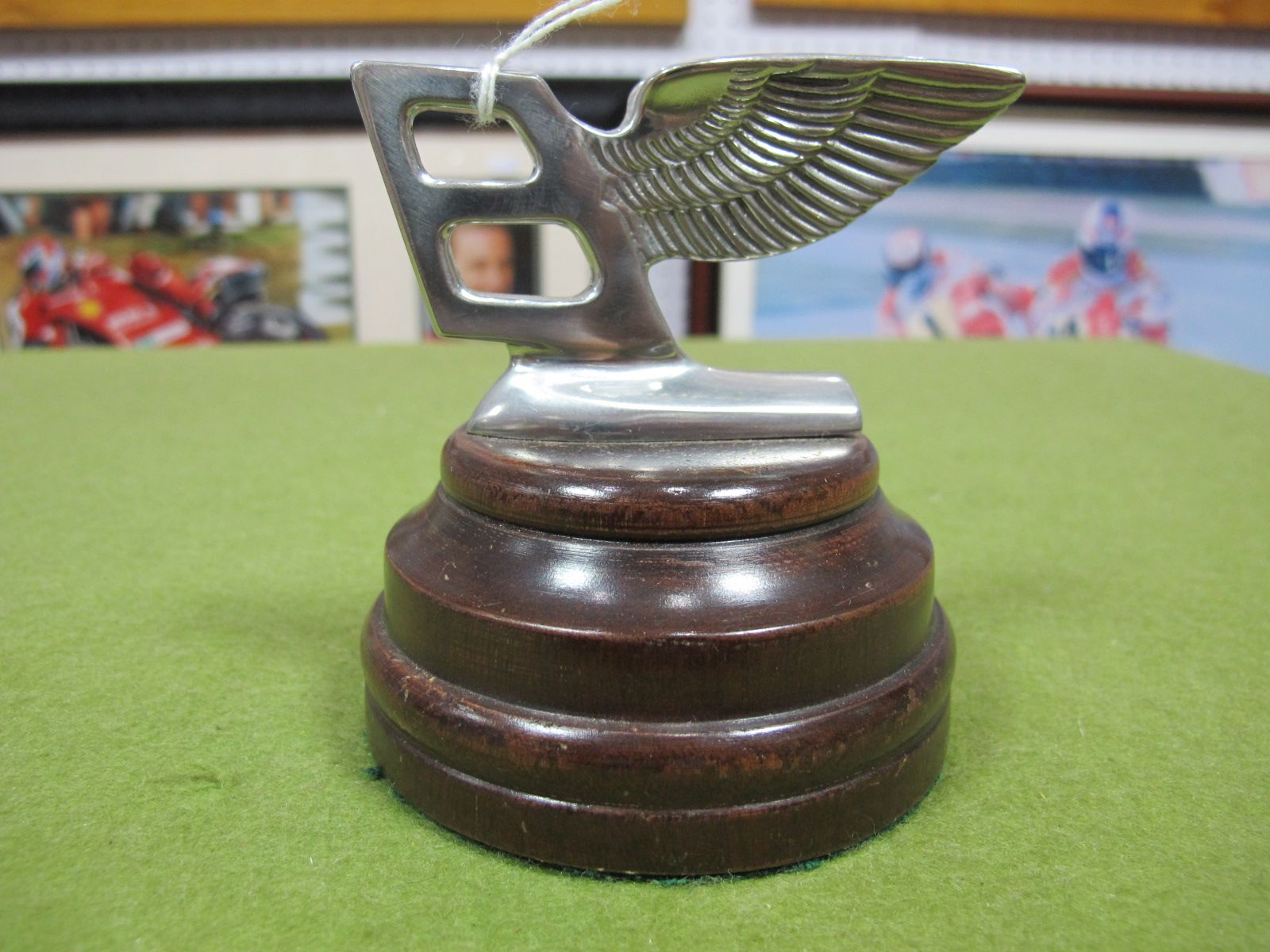 Lot 15 - A Modern White Metal on Wooden Base Bentley Flying B Desk Paperweight.