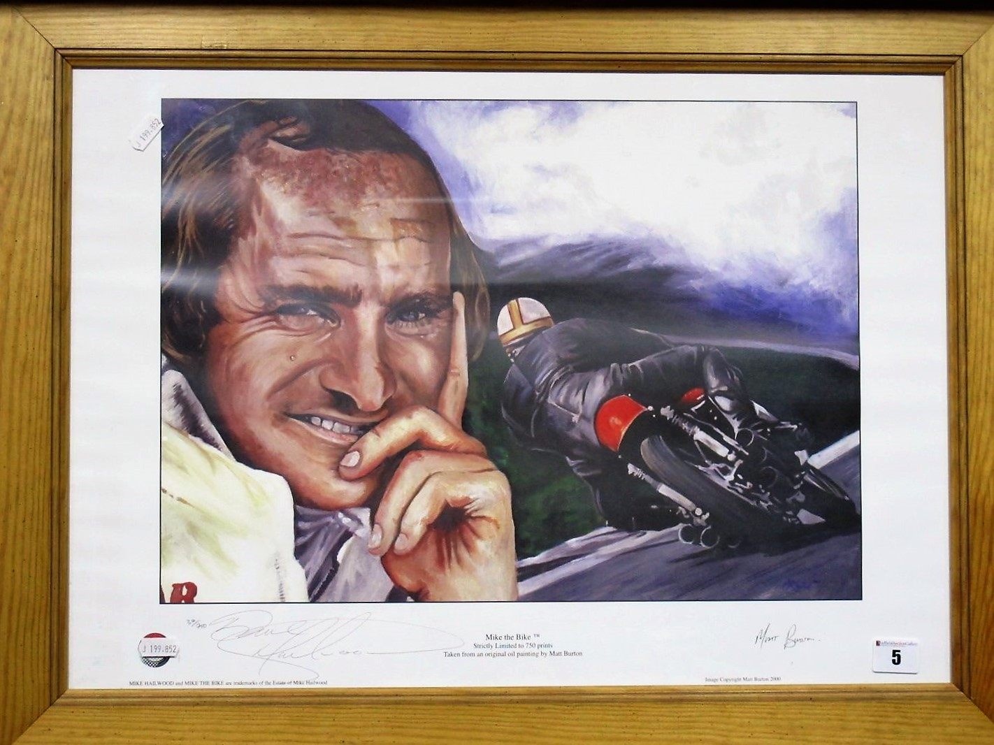 Lot 5 - After Mike Burton- 'Mike The Bike' Graphite Signed by Artist and Dave Hailwood (Mikes son).
