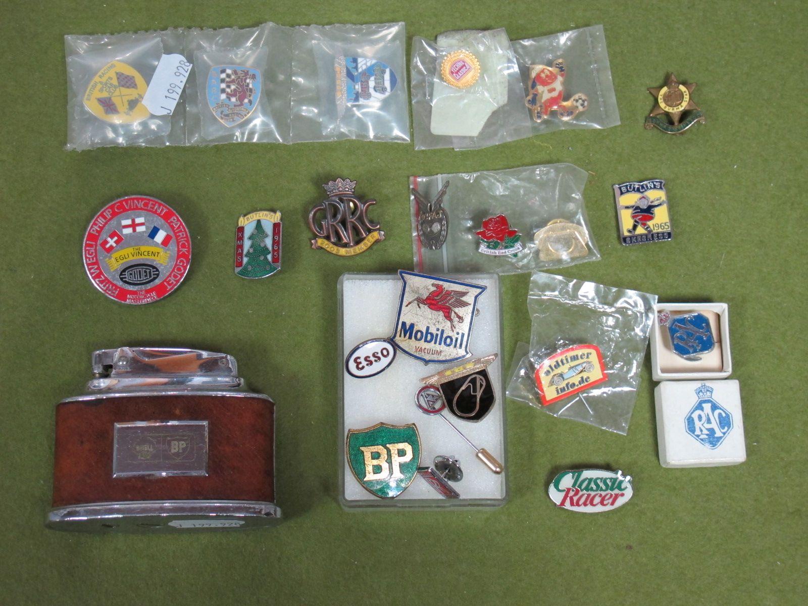 Lot 29 - Twenty Two Lapel Badges, predominately Automobile themes including Rolls Royce, BP, Mobil Oil, BARC,