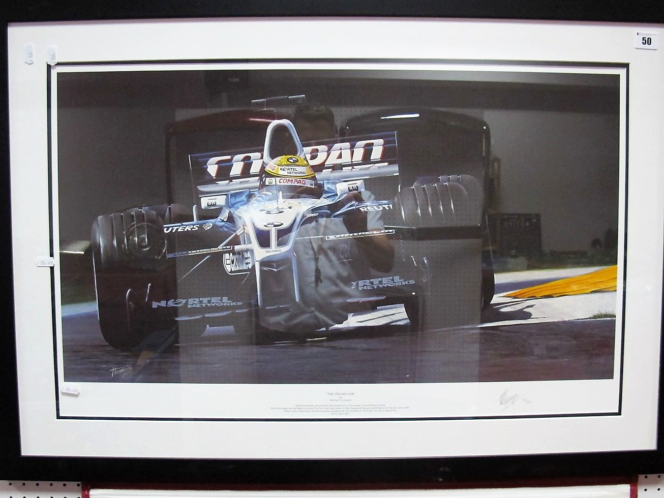 Lot 50 - After Michael Watson - 'The Italian Job', graphite signed by artist, framed.