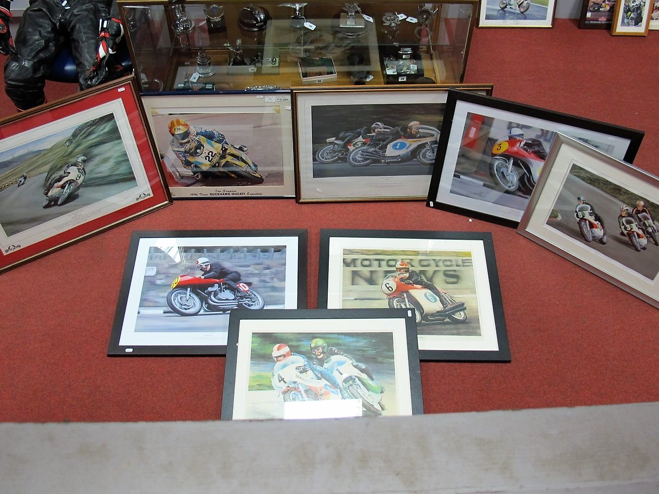 Lot 14 - Eight Motorbike Racing Prints, including John Surtees, Sounds of The Sixties!, all framed.