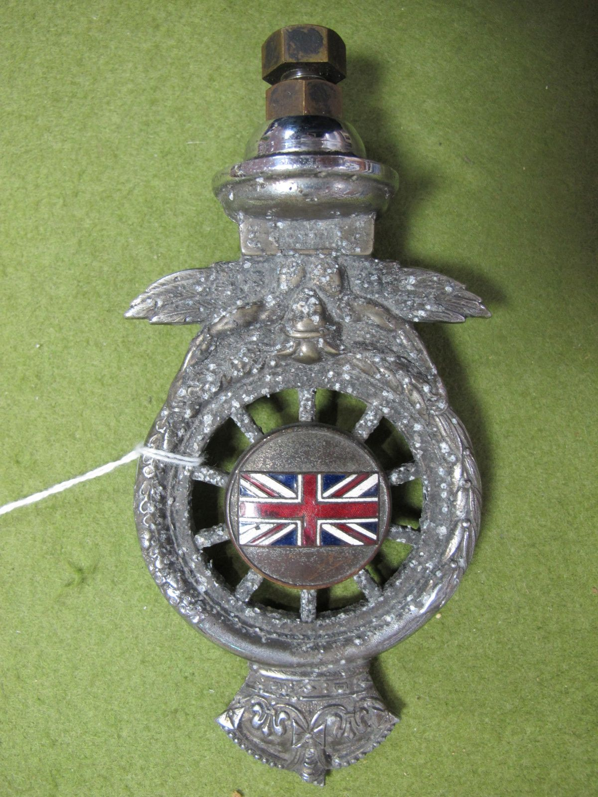 Lot 27 - A 1930 Full RAC Members Badge, chrome with enamel Union Jack. Slight damage to crown.