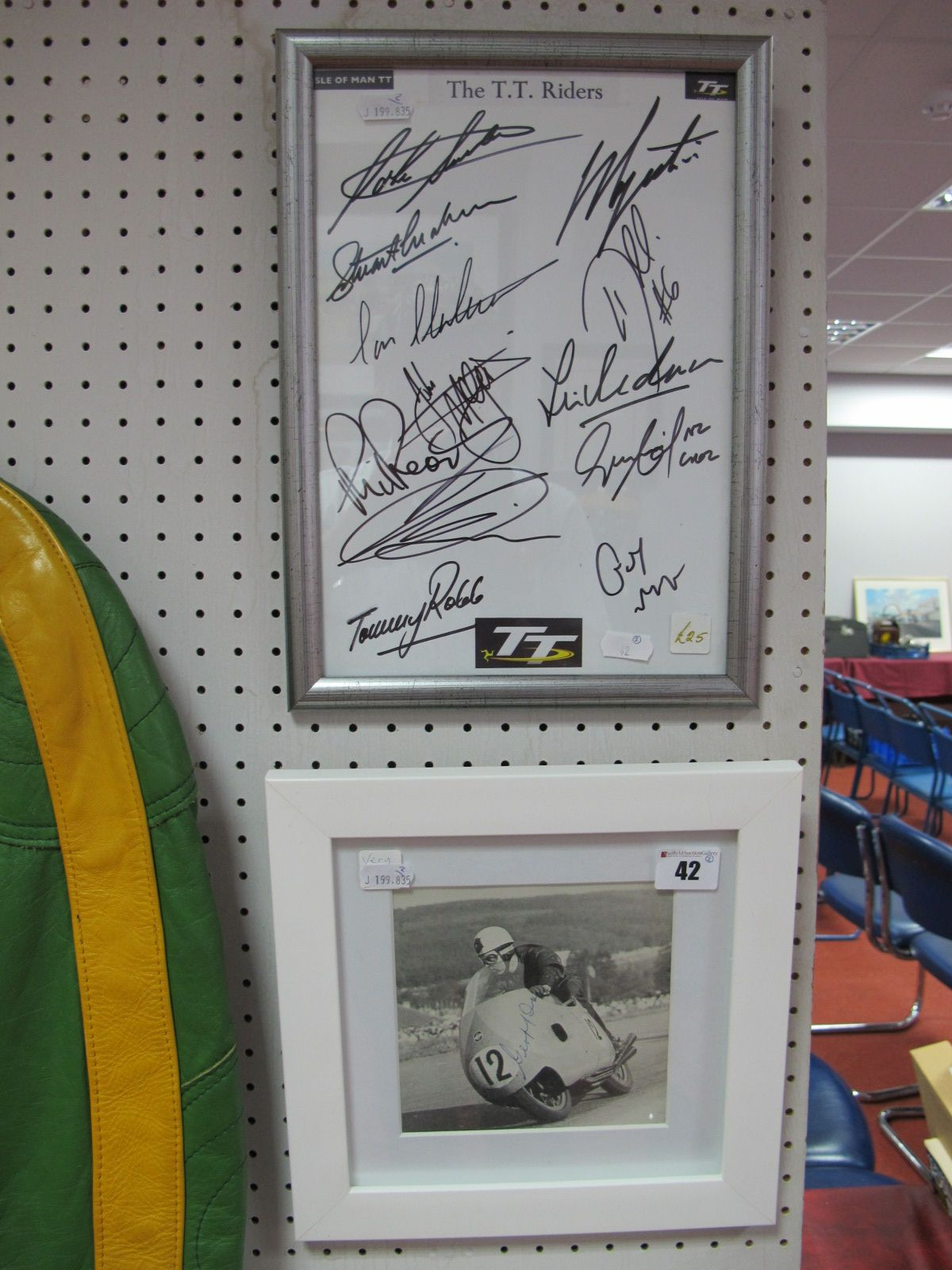 Lot 42 - A Signed Picture- 'Geoff Duke' on The Gilera plus twelve TT riders autographs, including Agostini/