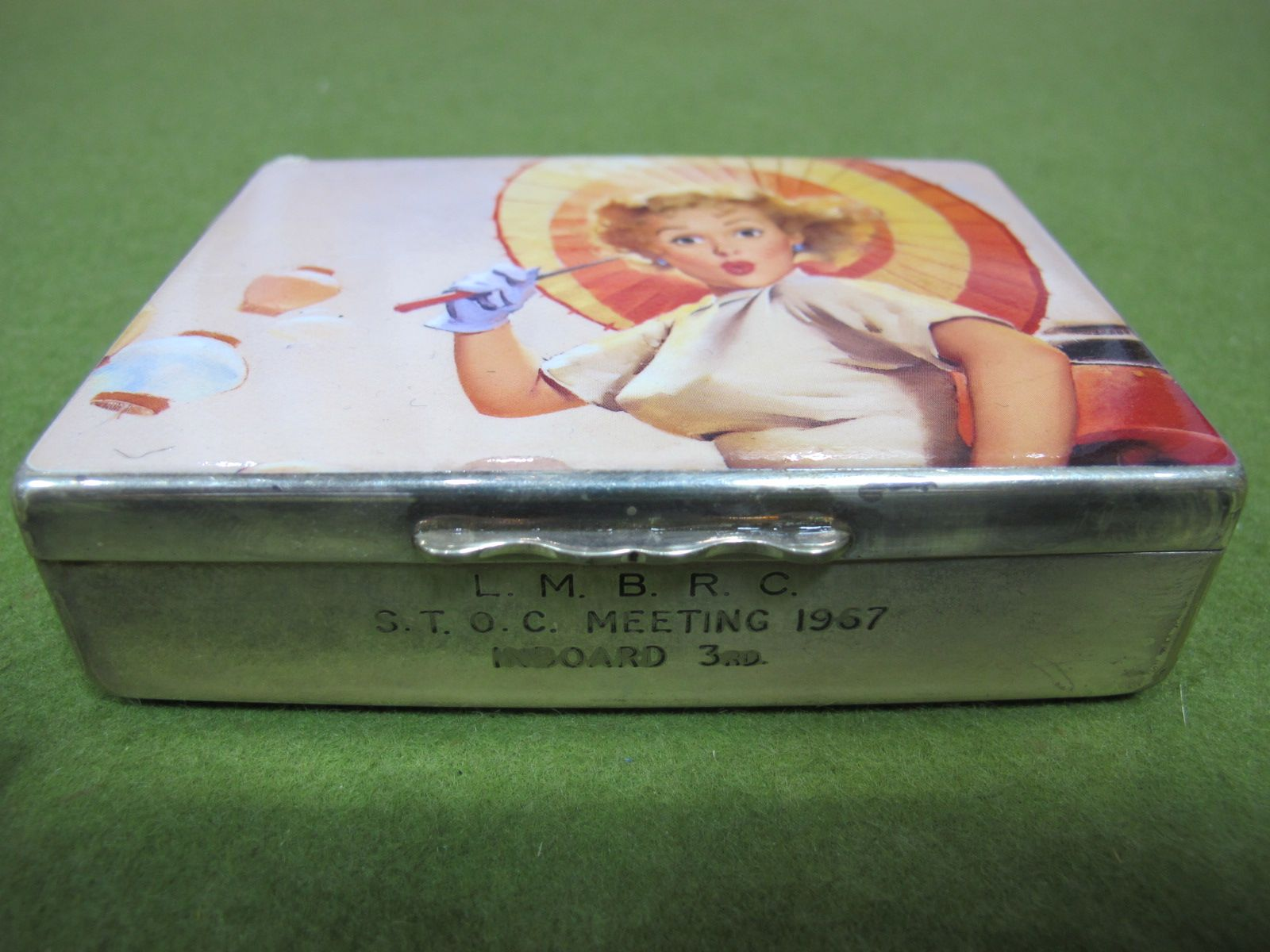 Lot 18 - A 1960's Aristocrat White Metal Cigarette Box, stamped 'LMBRC - STOC Meeting 1967, Inboard, 3rd' -
