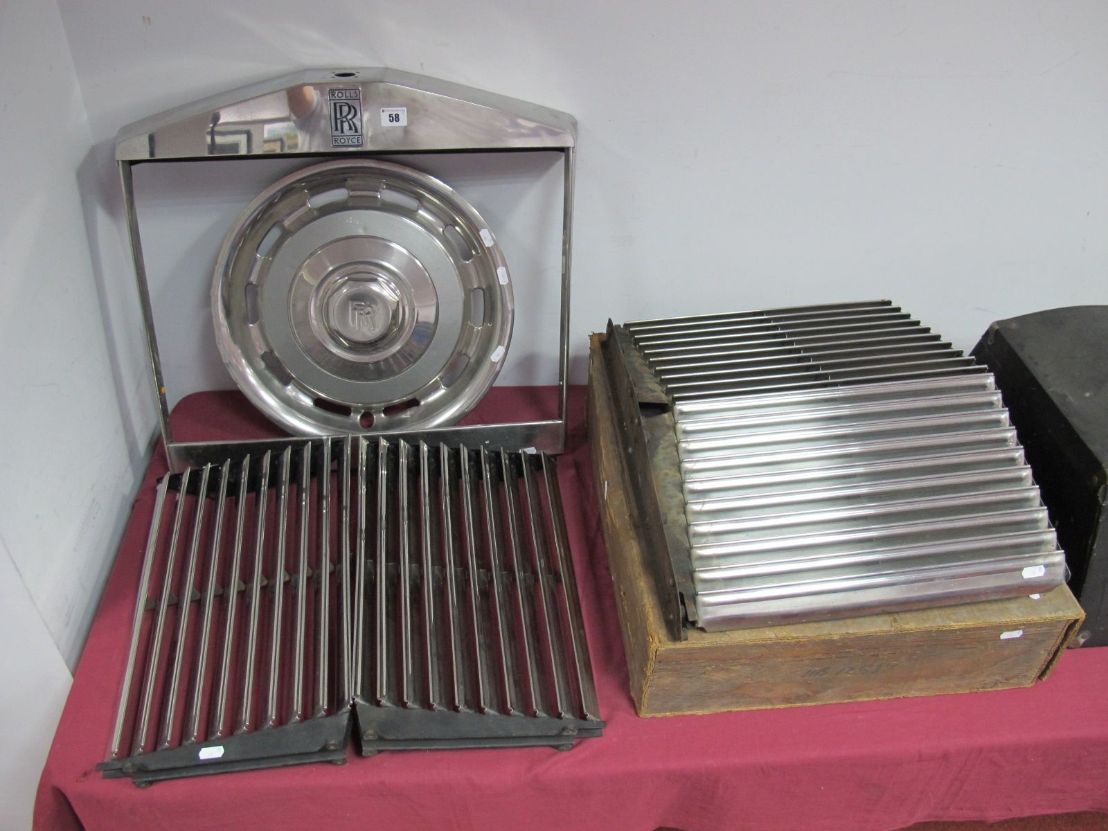 Lot 58 - Rolls Royce Front Grill Surround and Two Inners. with a Rolls Royce Wheel Trim