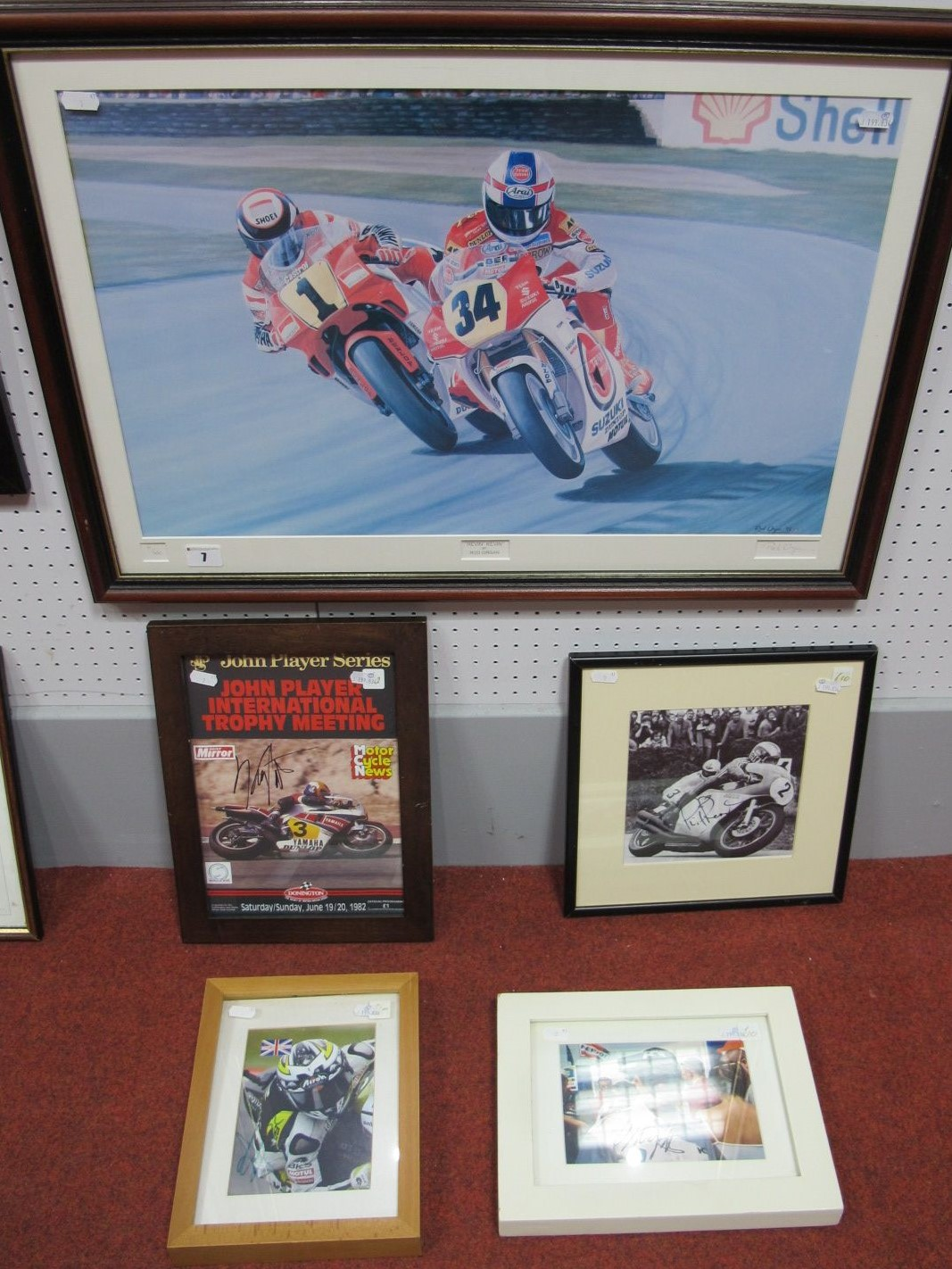 Lot 7 - Four Motorbike Autographs, Kenny Roberts (2) Phil Read' James Toseland all framed, plus a signed