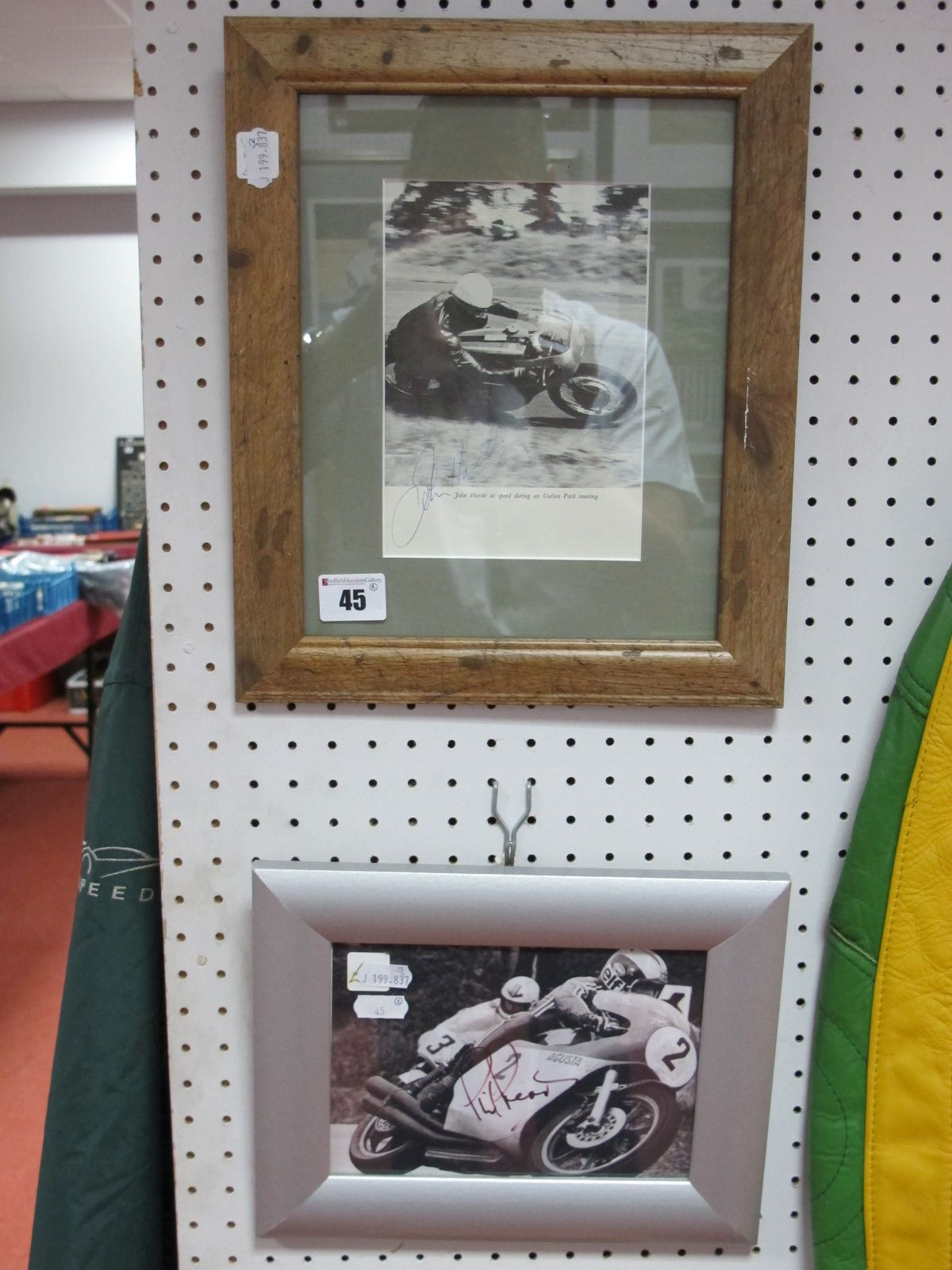Lot 45 - Two Framed Autographs- John Hartle, Grand Prix winner and Phil Read.